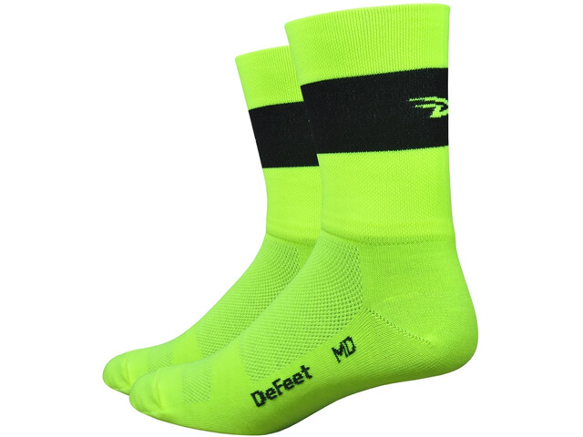 "DeFeet Aireator 5"" Doppel-Bund Socken team defeet hi-vis yellow w/black stripe"